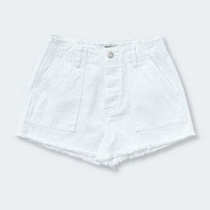 Frayed White Jean Shorts